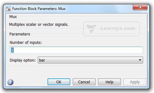 شکل 6 – پنجره پارامترهای بلوک Mux